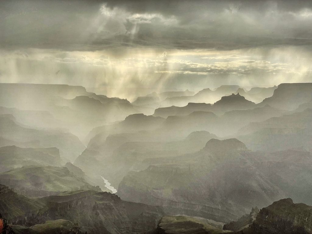 grand canyon in the rain